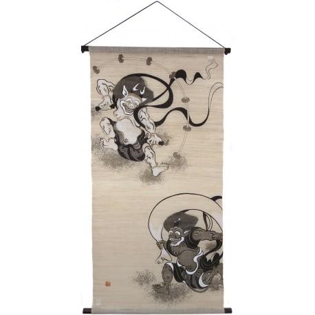 Tapisserie suspendue - Dieux Fûjin et Raijin - 60x120. Décoration murale japonaise kakejiku kakemono