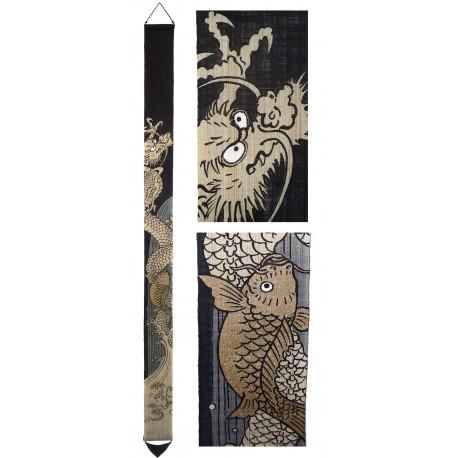 Slim hanging tapestry - Tô Ryû-Mon. Japanese wall decoration.