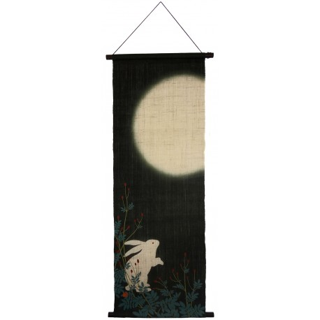Hanging tapestry - Moonlight Rabbit - 45x130. Japanese wall decoration.