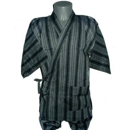 Jinbei Tunique vêtement japonaise d'été - bleu nuit - Taille LL - Coton et Lin