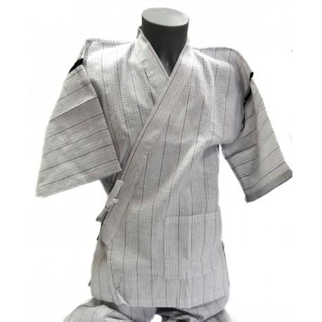 Jinbei Tunique vêtement japonaise d'été - blanc - Taille L - Coton et Lin
