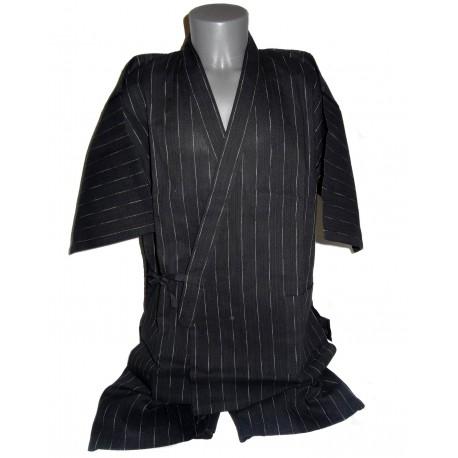 Jinbei Tunique vêtement japonaise d'été - noir - Taille L - Coton et Lin