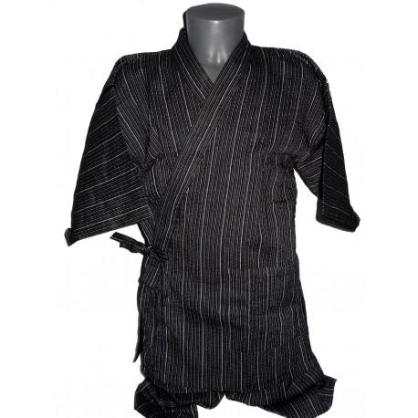Jinbei Tunique vêtement japonaise d'été - noir - Taille LL - Coton et Lin