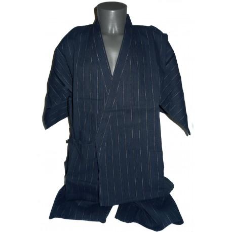 Jinbei Tunique vêtement japonaise d'été - bleu marine - Taille L - Coton et Lin