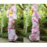 Yukata femme - Set 345 - Tissage Kôbai. kimono japonais d'été en coton